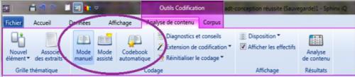 Sphinx IQ Quali : l'outil codification permet de définir une grille d'analyse, de coder le texte manuellement.